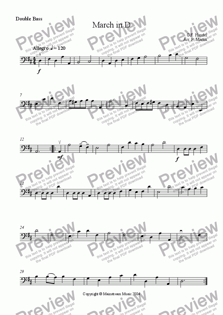page one of the Bass part from March in D
