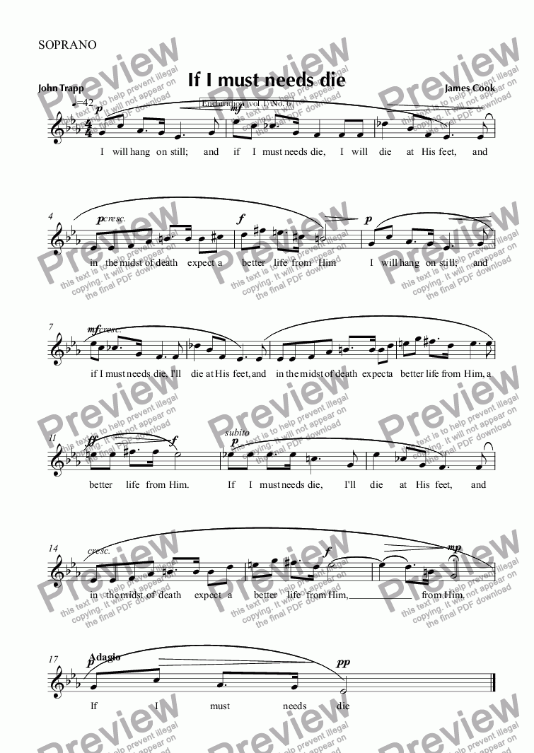 page one of the SOPRANO part from If I must needs die