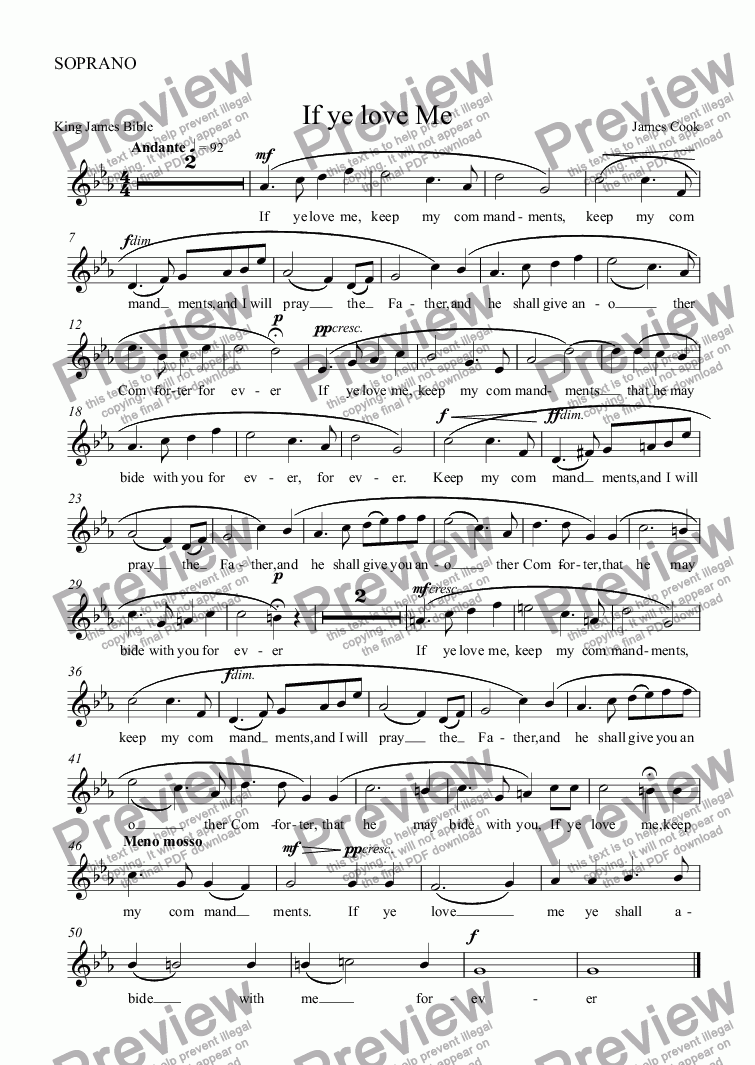 page one of the SOPRANO part from If ye love Me