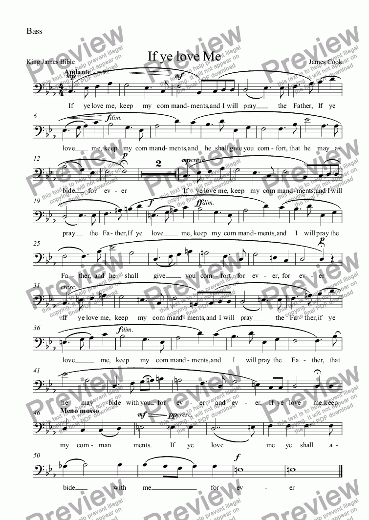 page one of the Bass part from If ye love Me
