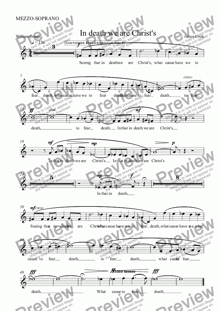 page one of the MEZZO-SOPRANO part from In death we are Christ's