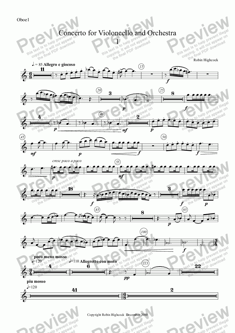 page one of the Oboe1 part from Concerto for Violoncello and Orchestra