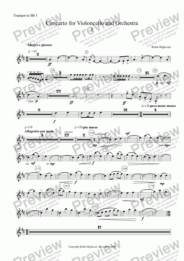 page one of the Trumpet in Bb 1 part from Concerto for Violoncello and Orchestra