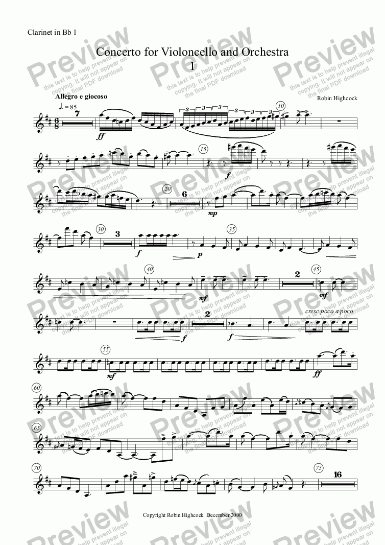 page one of the Clarinet in Bb 1 part from Concerto for Violoncello and Orchestra