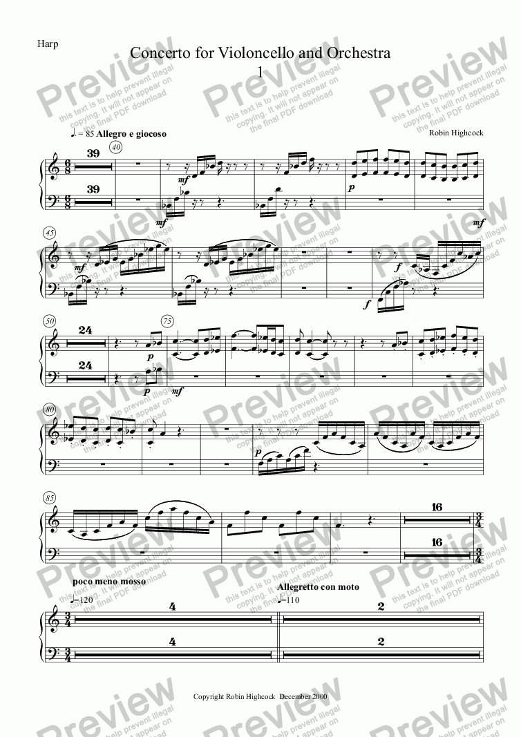 page one of the Harp part from Concerto for Violoncello and Orchestra