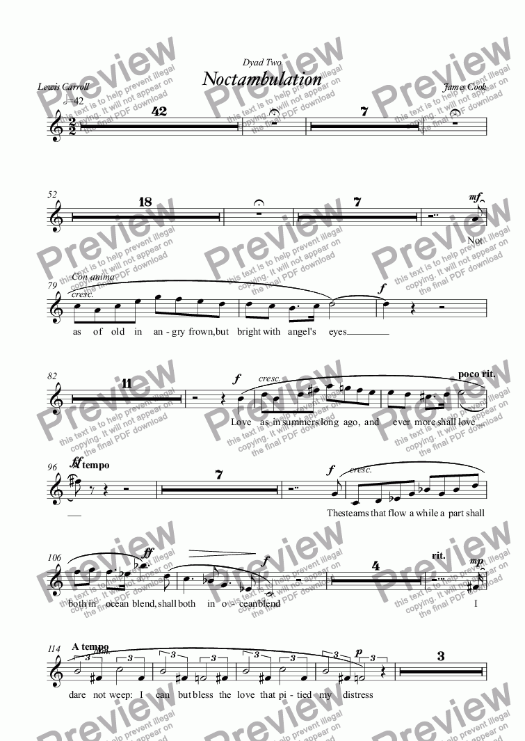 page one of the SOPRANO part from Noctambulation