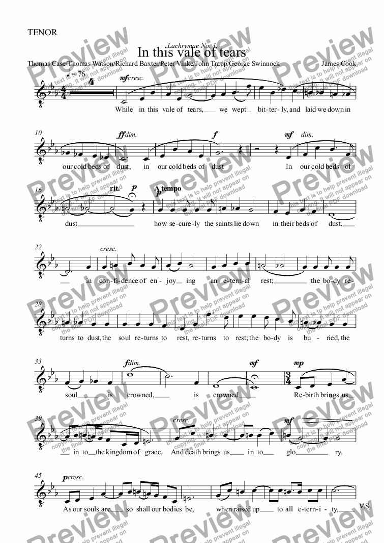 page one of the TENOR part from In this vale of tears