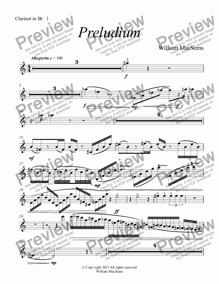 page one of the Clarinet in B^b^  1 part from Preludium