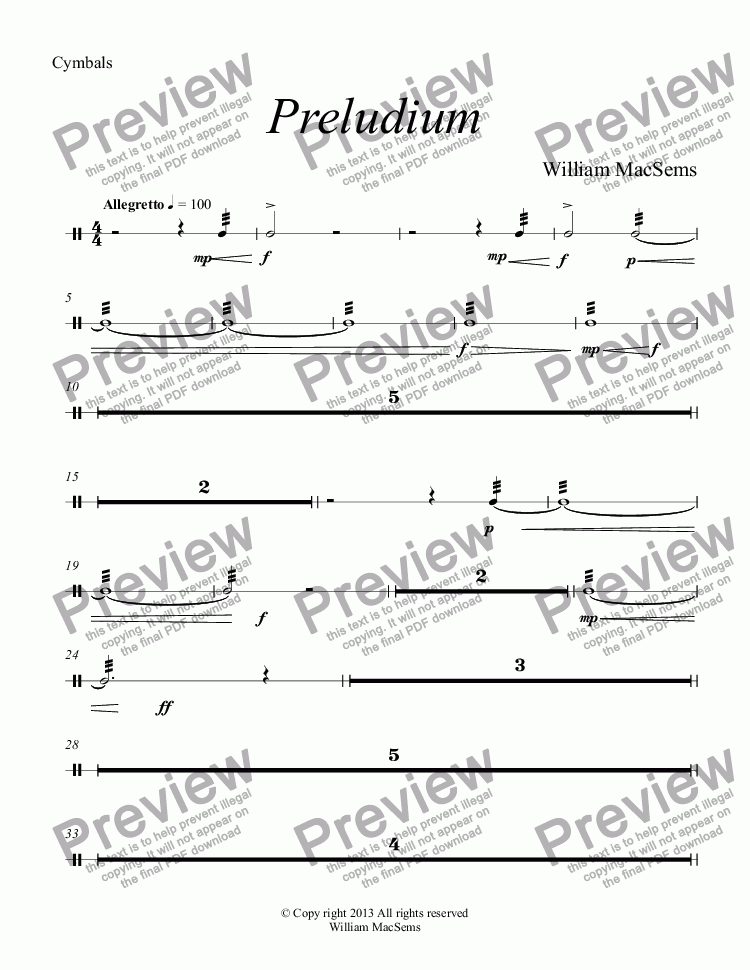 page one of the Cymbals part from Preludium