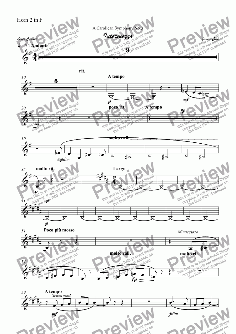 page one of the Horn 2 in F part from Intermezzo