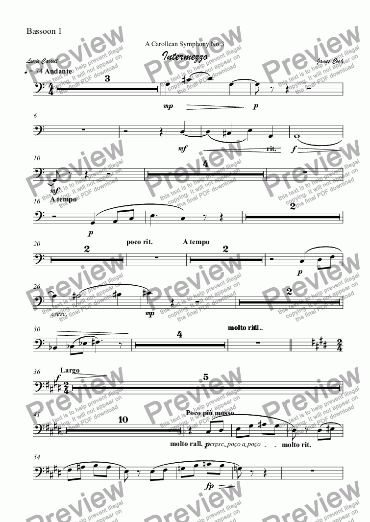 page one of the Bassoon 1 part from Intermezzo