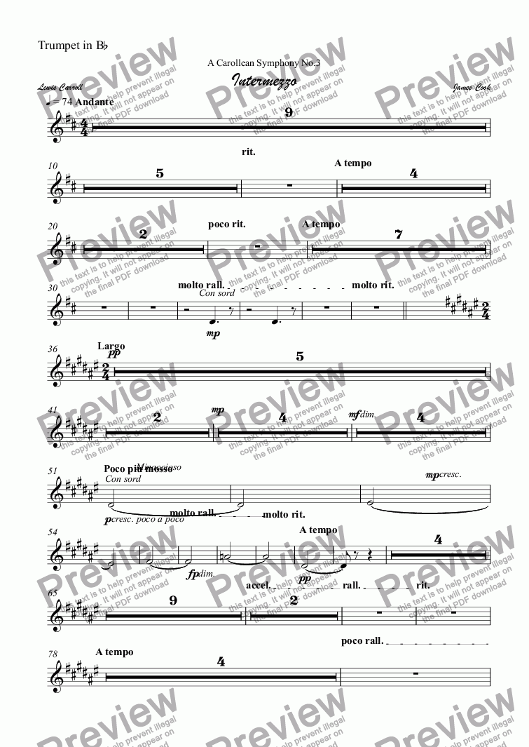 page one of the Trumpet in B^b part from Intermezzo
