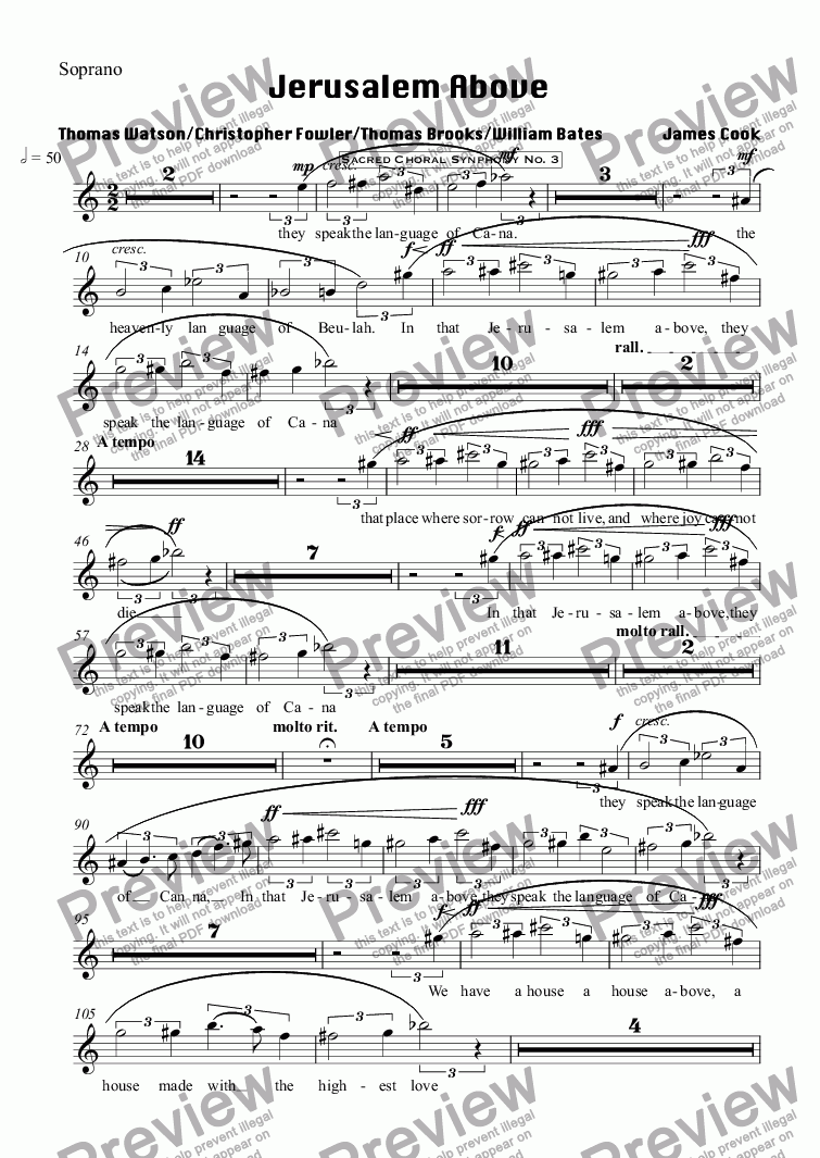 page one of the Soprano part from Jerusalem Above