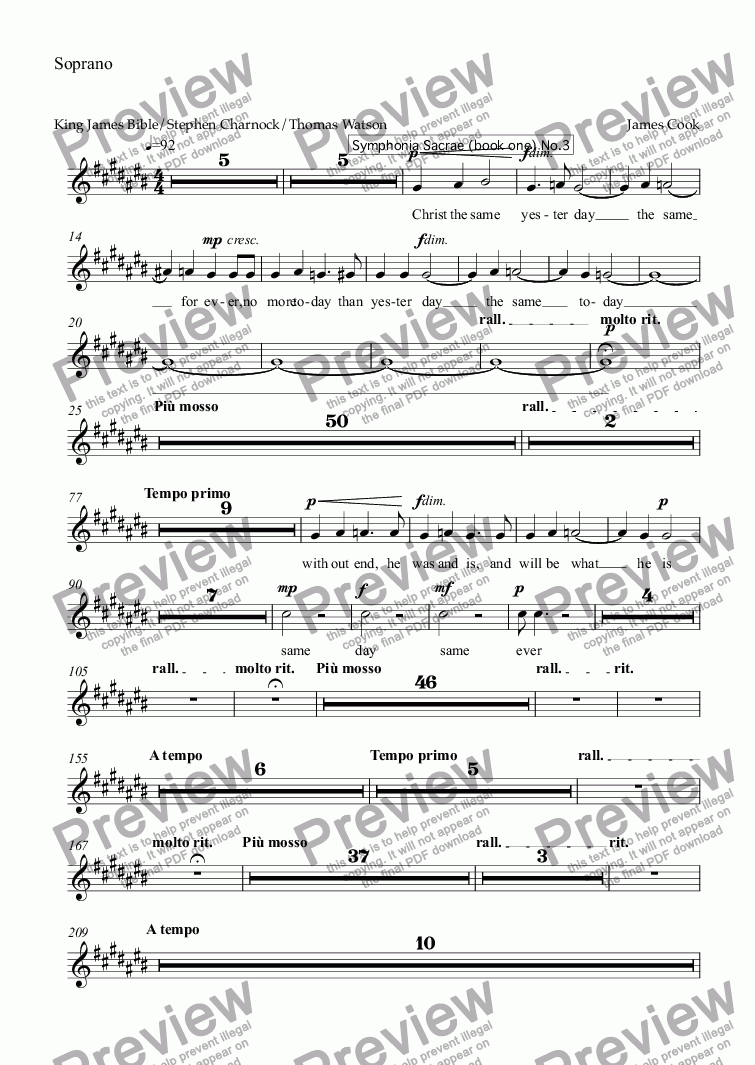 page one of the Soprano part from Jesus Christ the same yesterday, today and forever