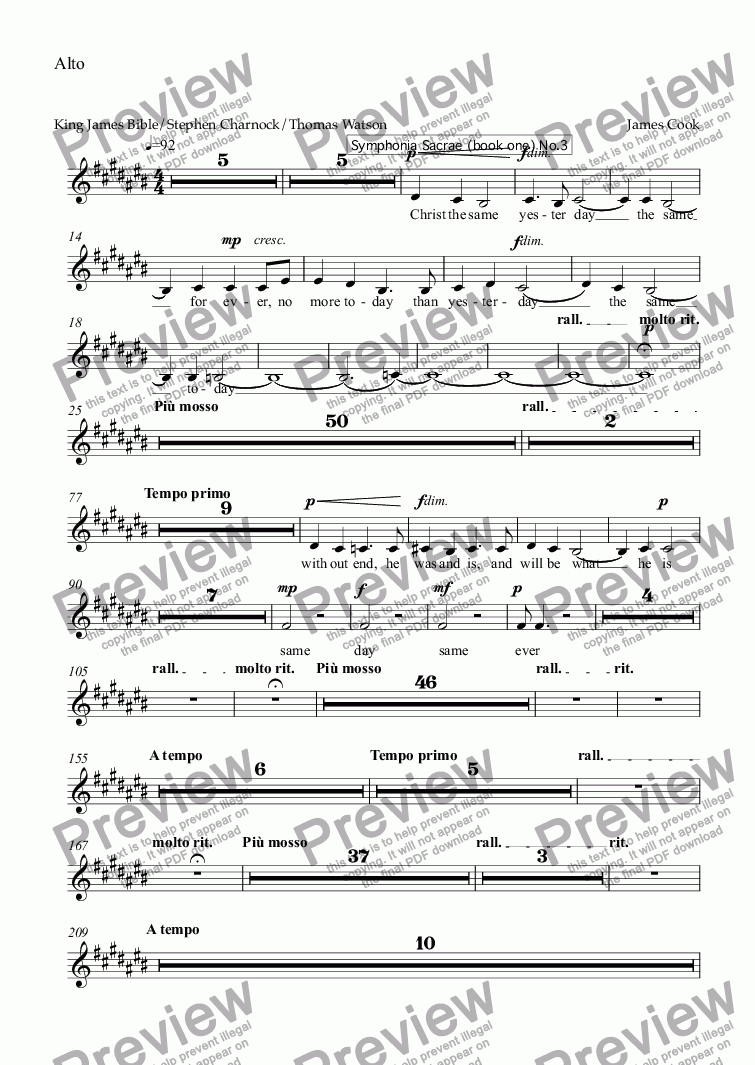 page one of the Alto part from Jesus Christ the same yesterday, today and forever