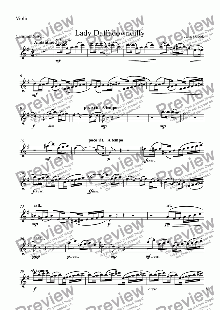 page one of the Violin part from Lady Daffadowndilly