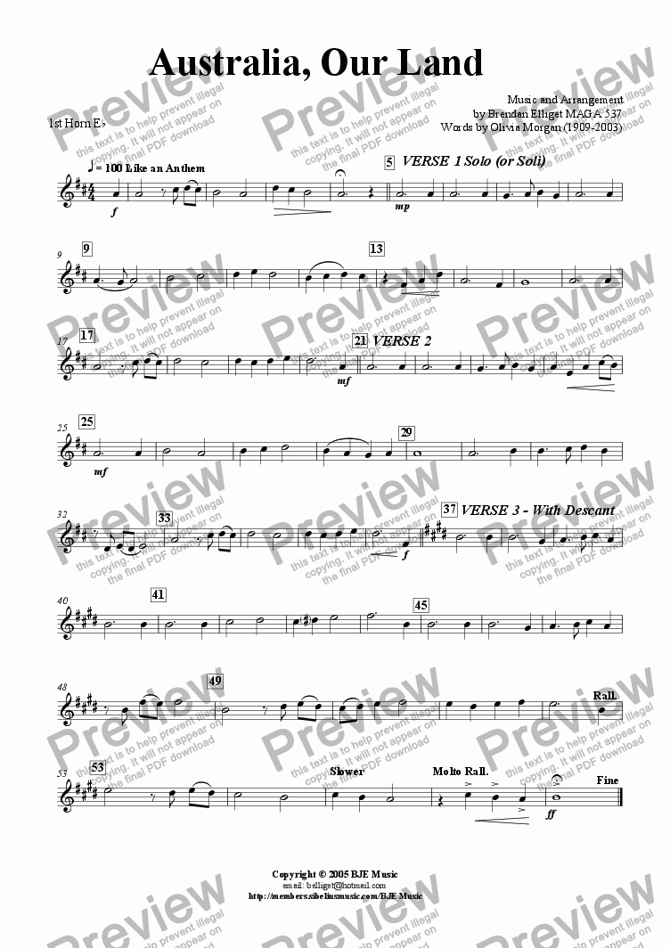 page one of the 1st Horn Eb part from Australia, Our Land (Revised 2006) - Vocal with Brass Band