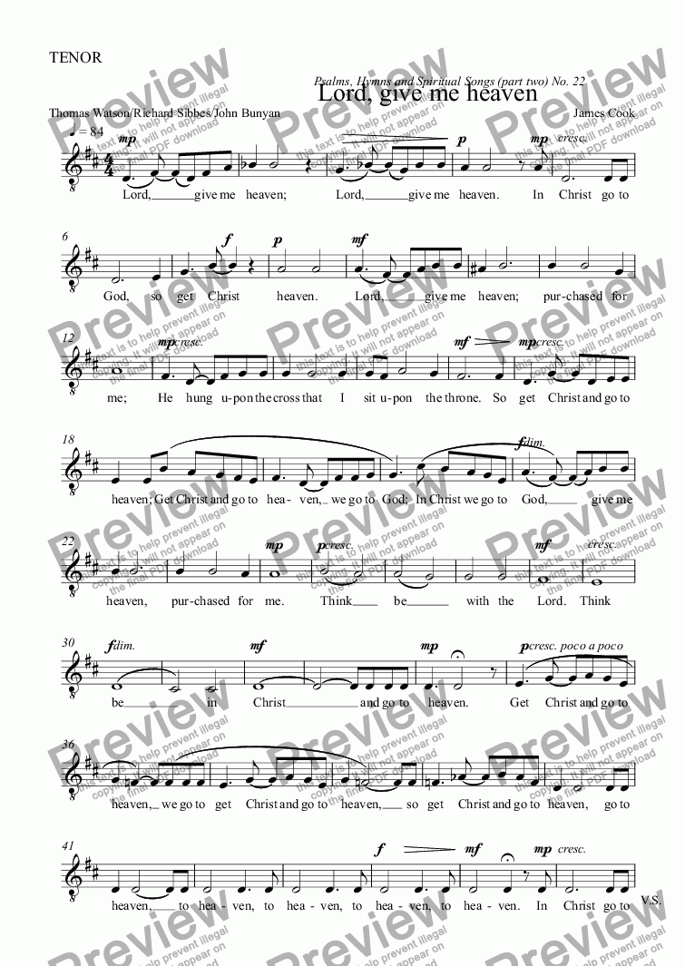 page one of the TENOR part from Lord, give me heaven
