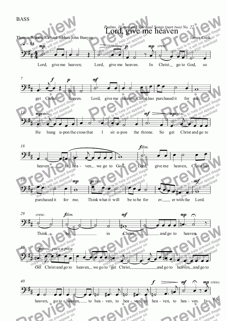 page one of the BASS part from Lord, give me heaven