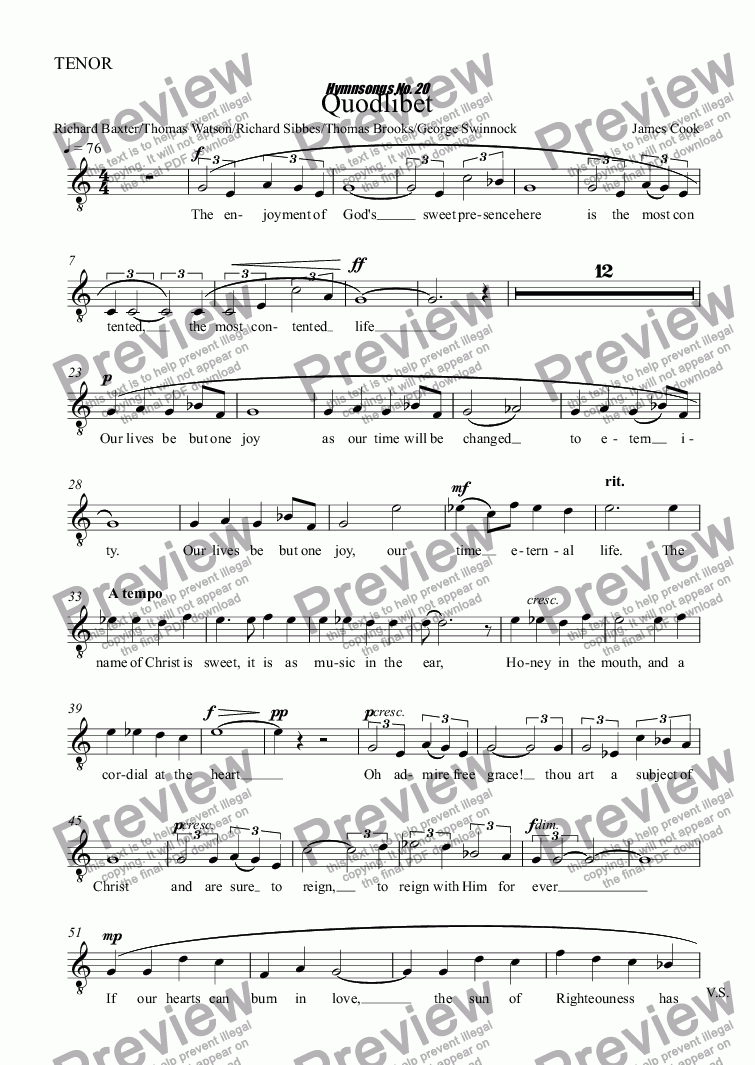 page one of the TENOR part from Quodlibet