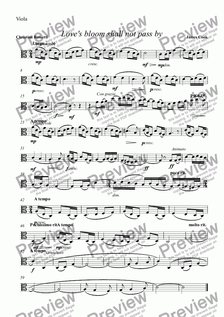 page one of the Viola part from Love's bloom shall not pass by