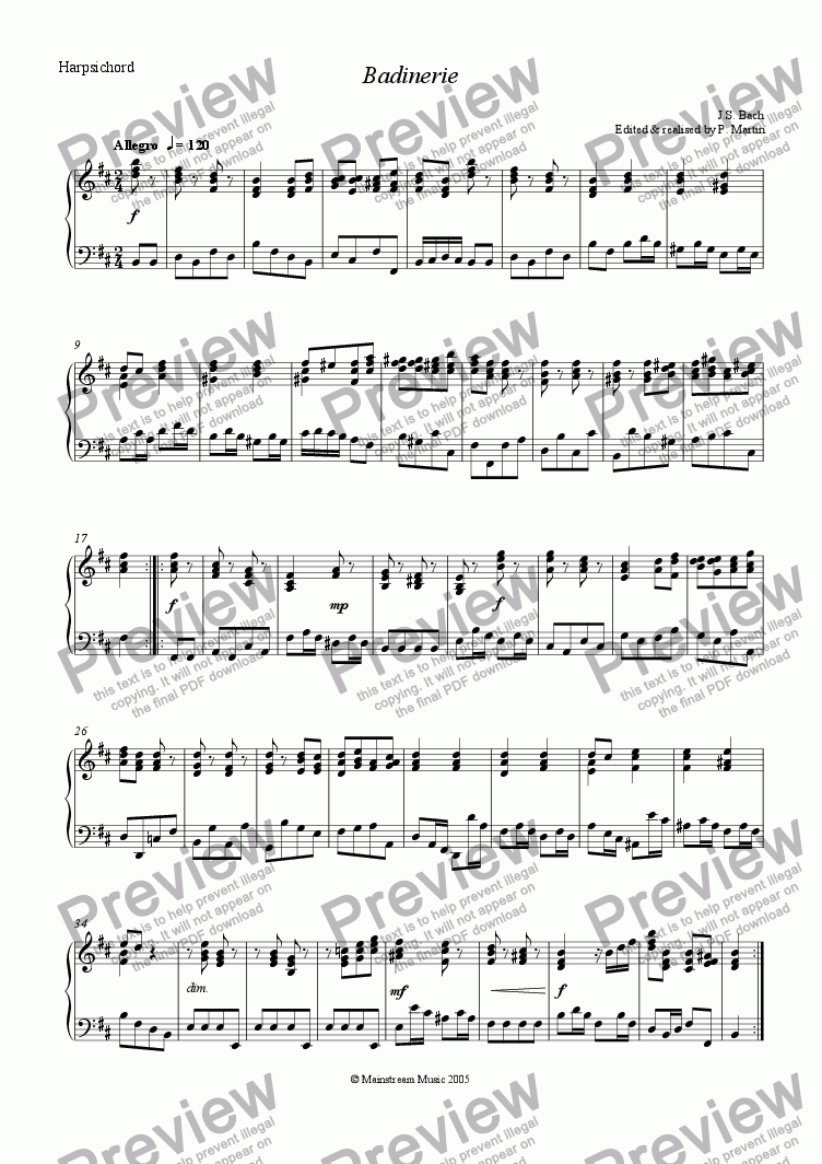 page one of the Harpsichord part from Badinerie from  the Orchestral Suite No.2 in B Minor