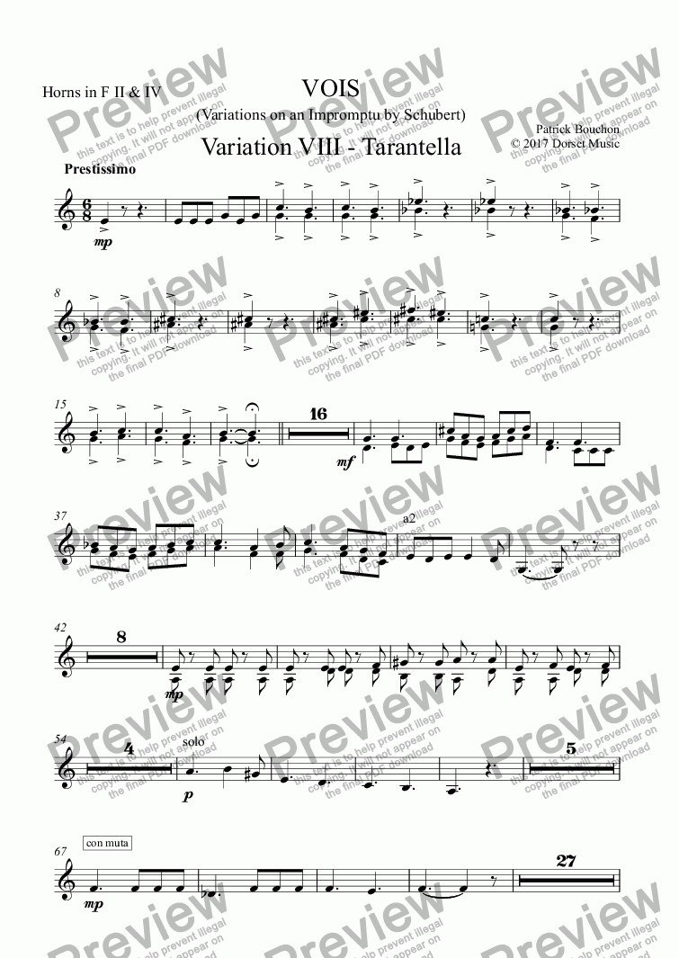 page one of the Horns in F II & IV part from VOIS - Variations on an Impromptu by Schubert - Variation VIII - Tarantella
