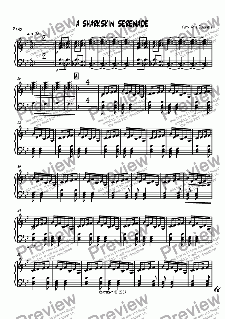 page one of the Piano part from Sharkskin Serenade
