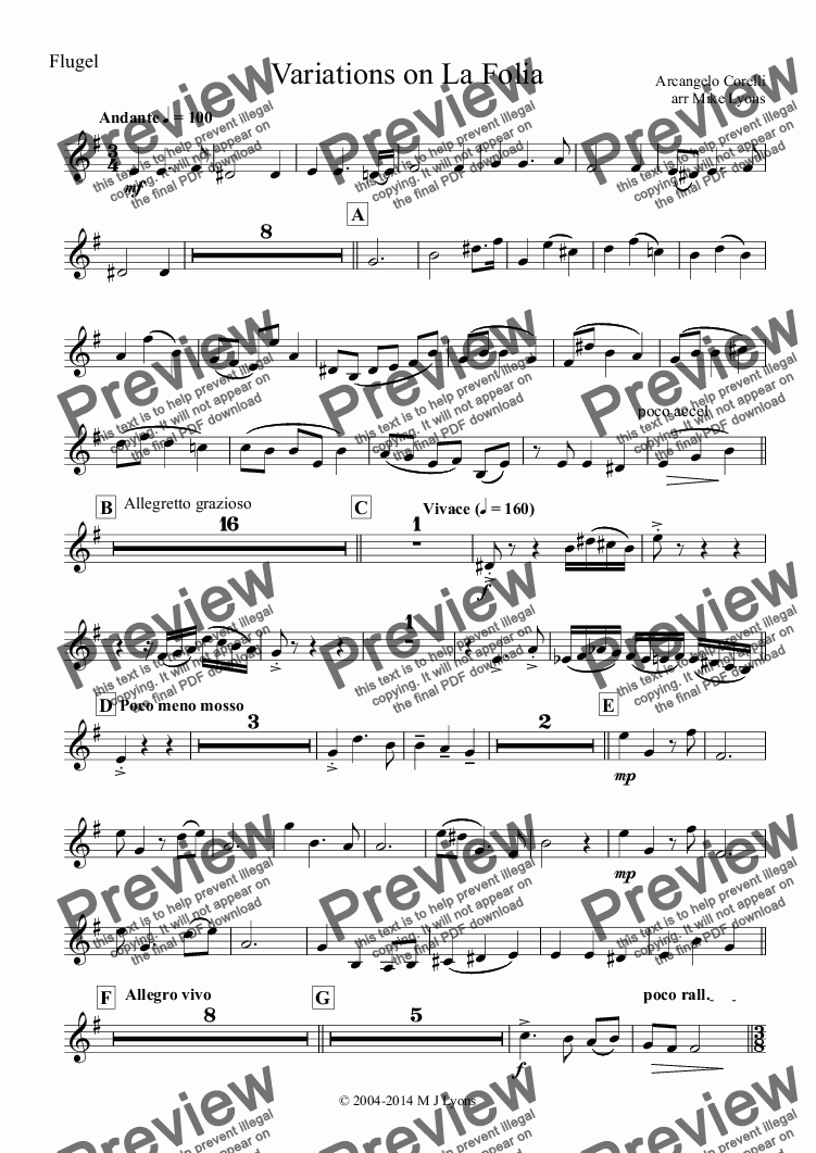 page one of the Flugel part from Brass Band - Variations on La Folia