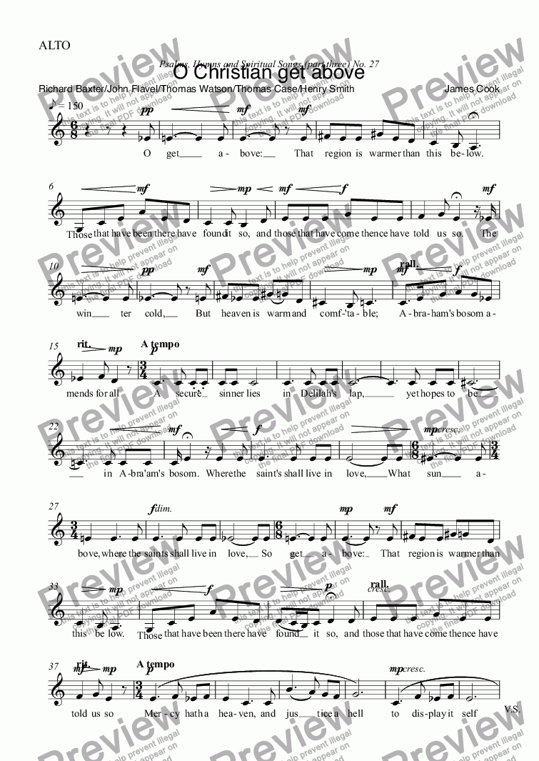 page one of the ALTO part from O Christian get above