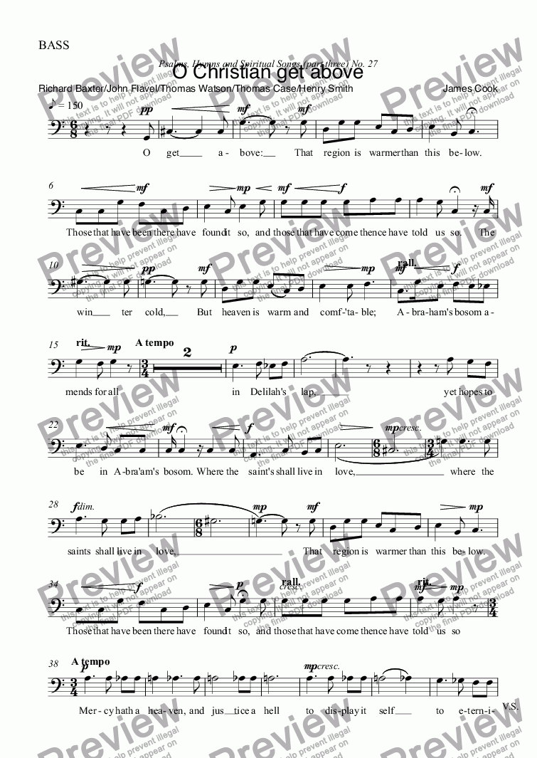 page one of the BASS part from O Christian get above