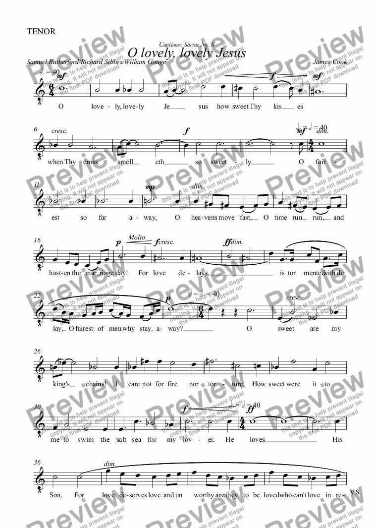 page one of the TENOR part from O lovely, lovely Jesus