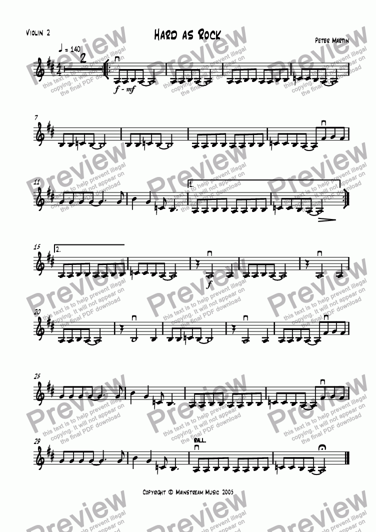 page one of the Violin 2 part from Hard as Rock