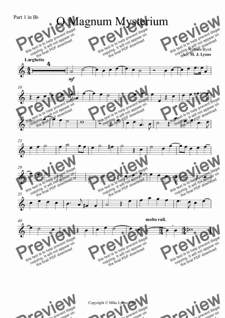 page one of the Part 1 in B^b part from Brass Quartet - O Magnum Mysterium