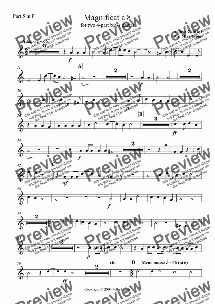 page one of the Part 5 in F part from Brass Octet - Magnificat a 8 for two 4-part brass choirs