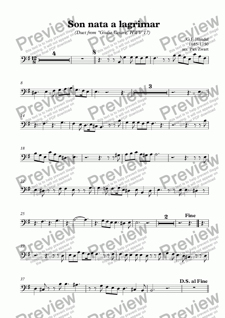 page one of the Bass part from Son nata a lagrimar