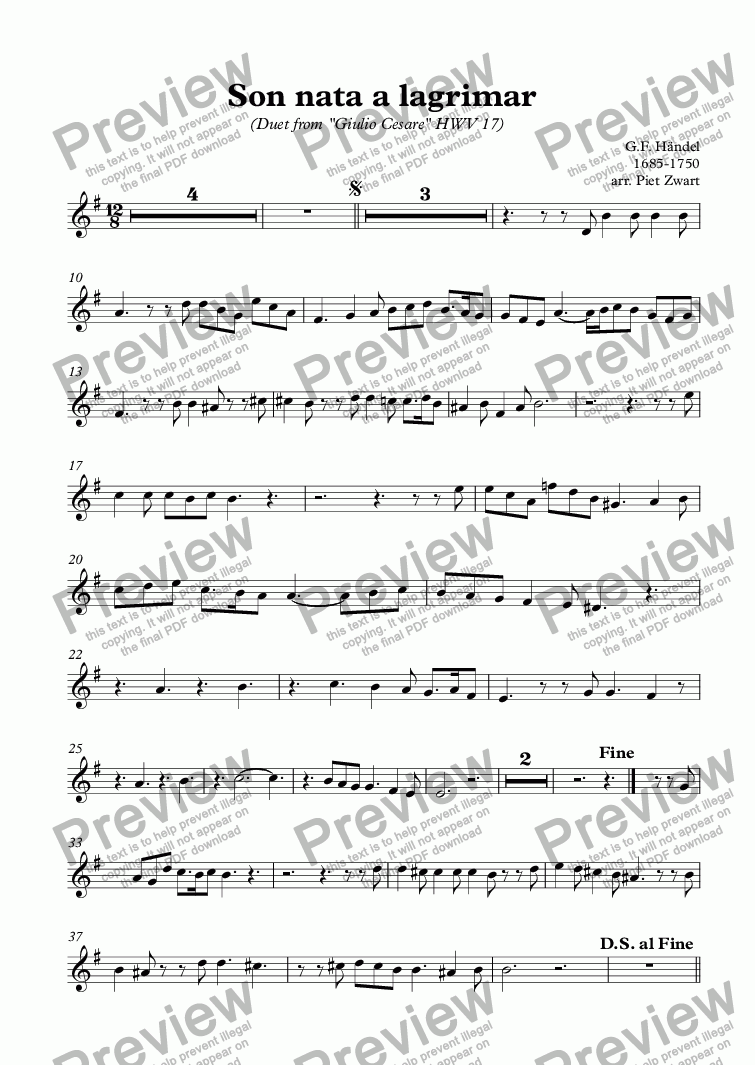 page one of the Tenor part from Son nata a lagrimar
