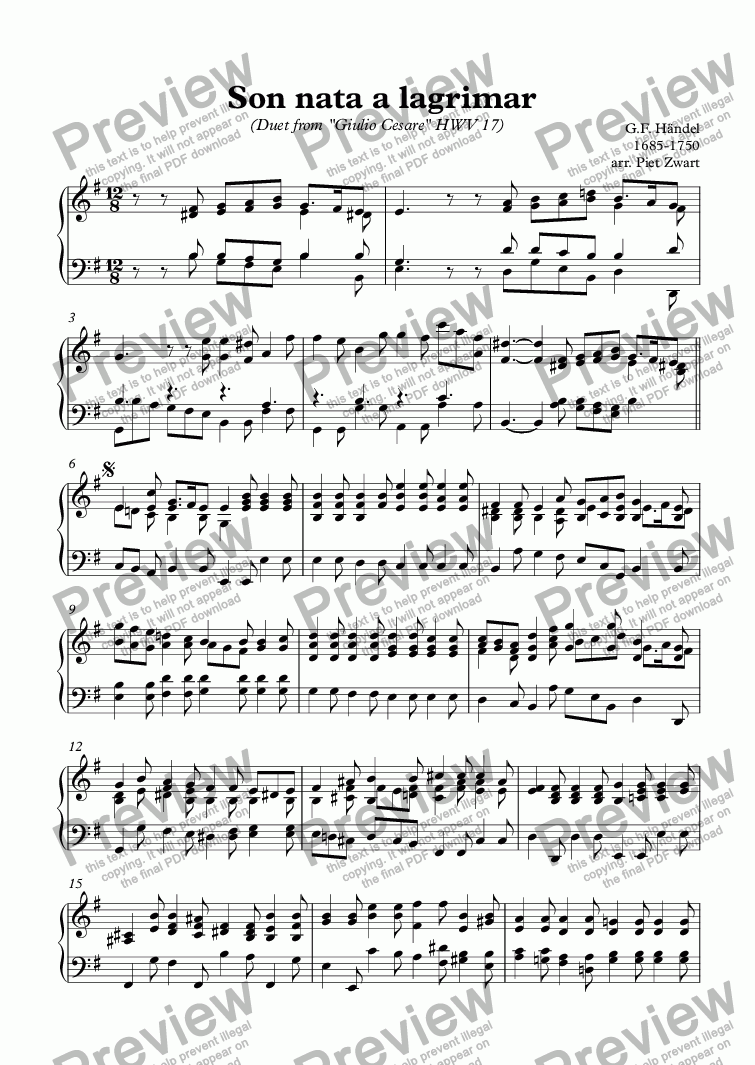 page one of the Harpsichord part from Son nata a lagrimar