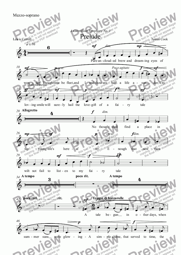 page one of the Mezzo-soprano part from Prelude