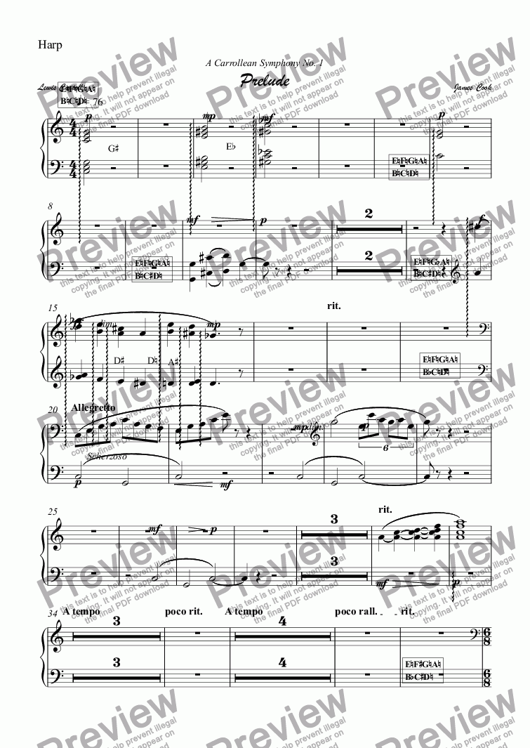 page one of the Harp part from Prelude