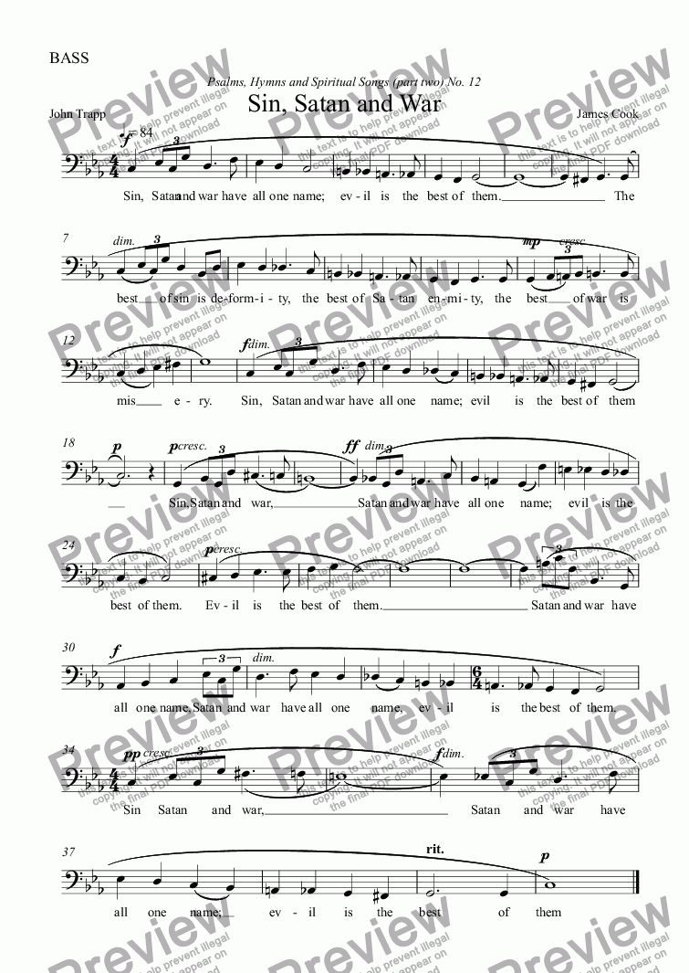 page one of the BASS part from Sin, Satan and War