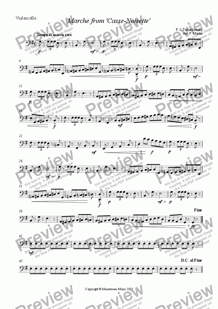 page one of the Cello part from Marche from 'Casse - Noisette'