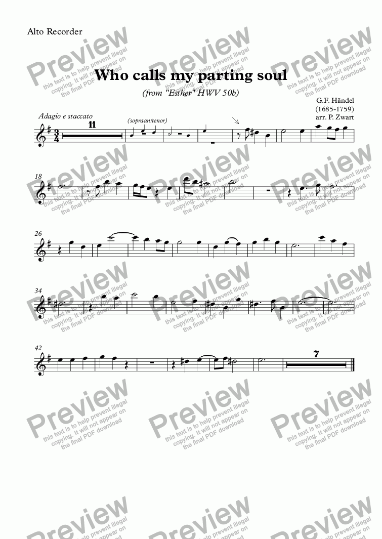 page one of the Alto Recorder part from Who calls my parting soul (Händel)