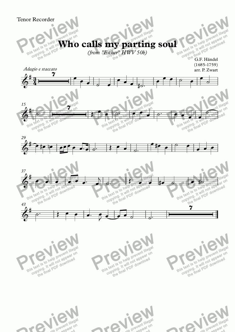 page one of the Tenor Recorder part from Who calls my parting soul (Händel)