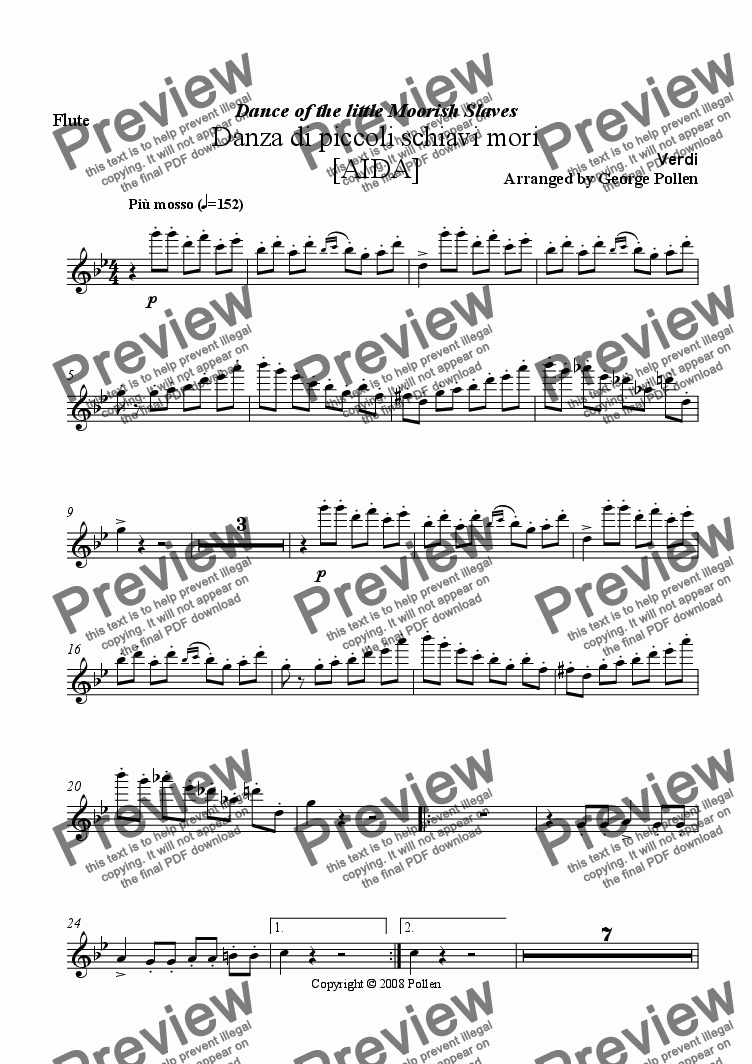 page one of the Flute part from Dance of the little Moorish Slaves [AIDA]