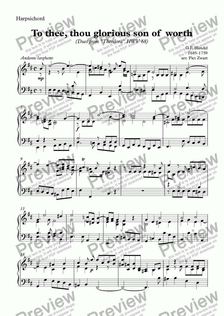 page one of the Harpsichord part from To thee, thou glorious son of  worth - recorder version (Händel)
