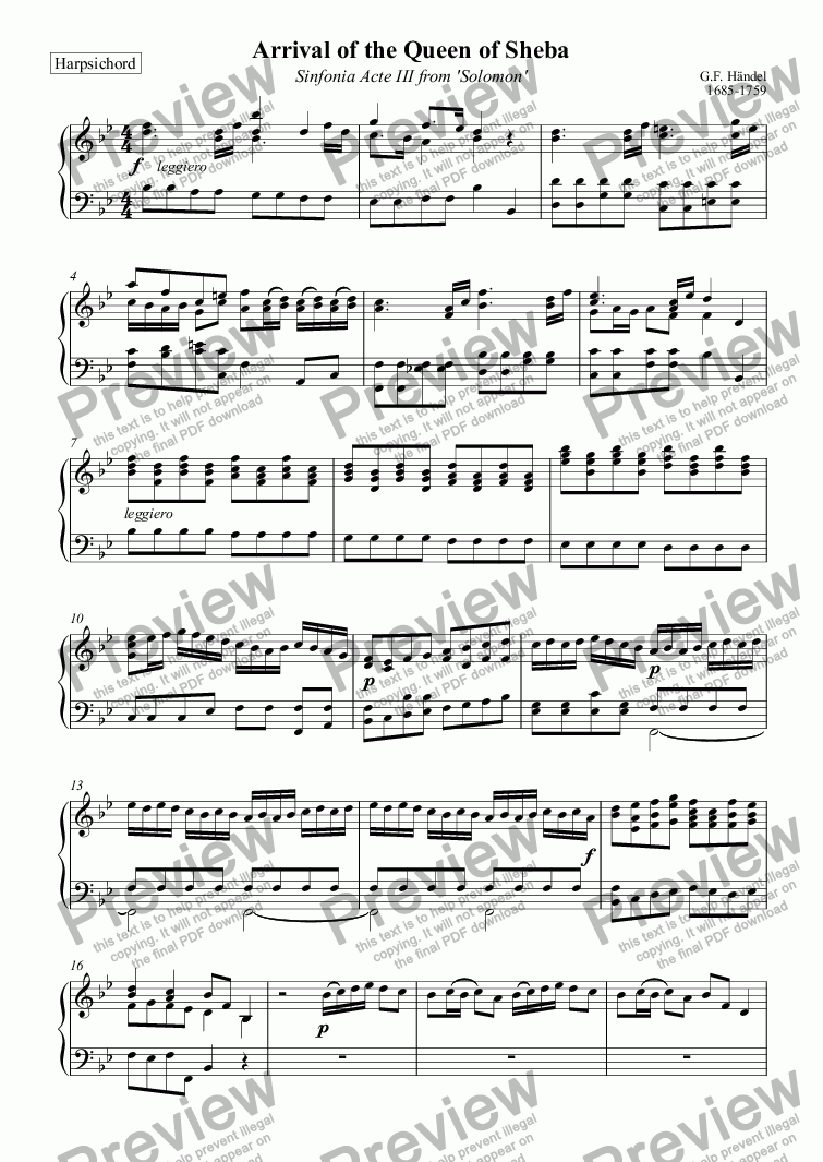 page one of the Harpsichord part from Arrival of the Queen of Sheba (Händel)