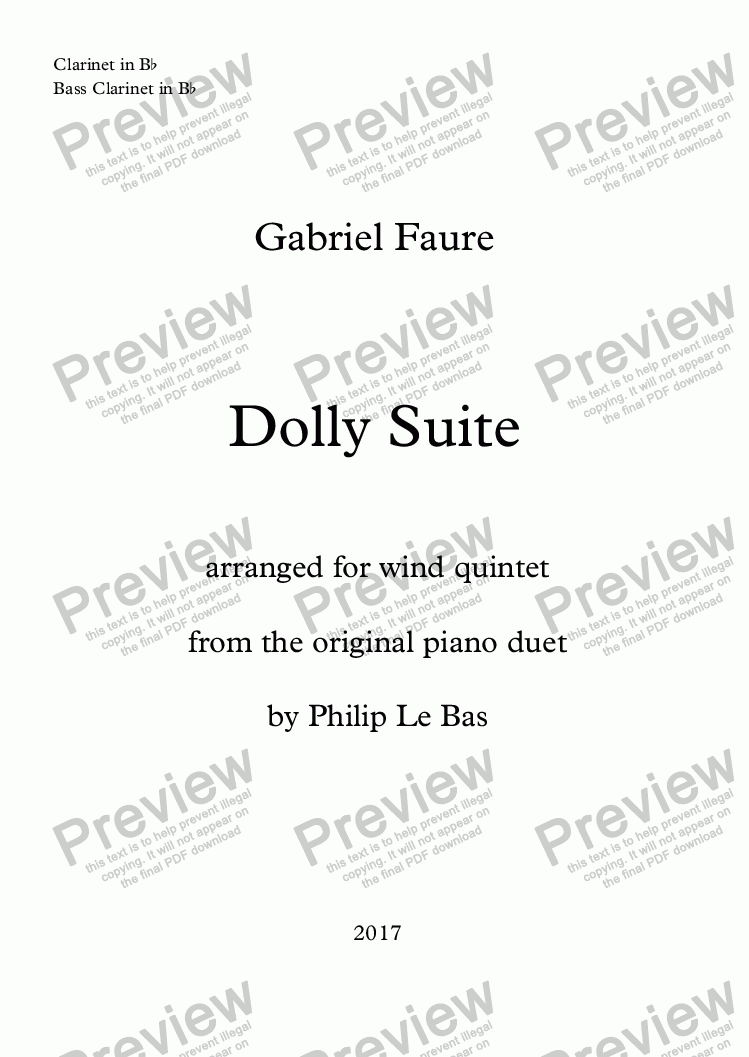 page one of the Clarinet in B^b, Bass Clarinet in B^b part from Dolly Suite
