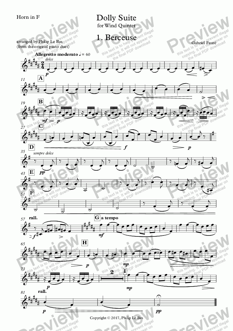 page one of the Horn in F part from Dolly Suite