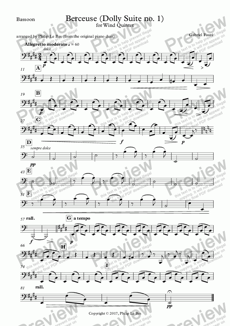 page one of the Bassoon part from Berceuse (Dolly Suite no. 1)